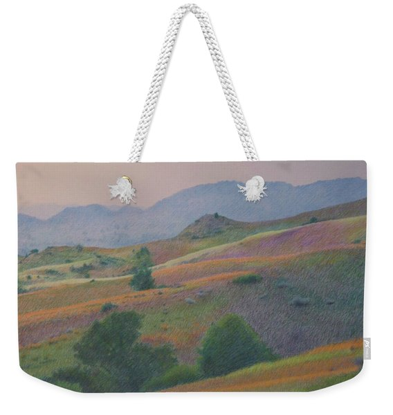Weekender Tote Bag featuring the pastel Badlands In July by Cris Fulton