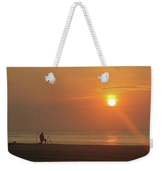 Baiting The Hook At Sunrise Weekender Tote Bag