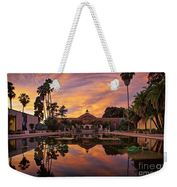 Weekender Tote Bag featuring the photograph Balboa Park Botanical Building Sunset by Sam Antonio Photography