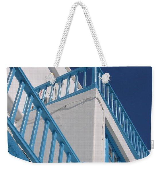 Blue And White In Mykonos Weekender Tote Bag