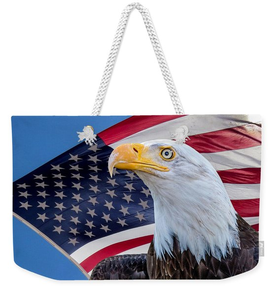 Bald Eagle And American Flag Weekender Tote Bag