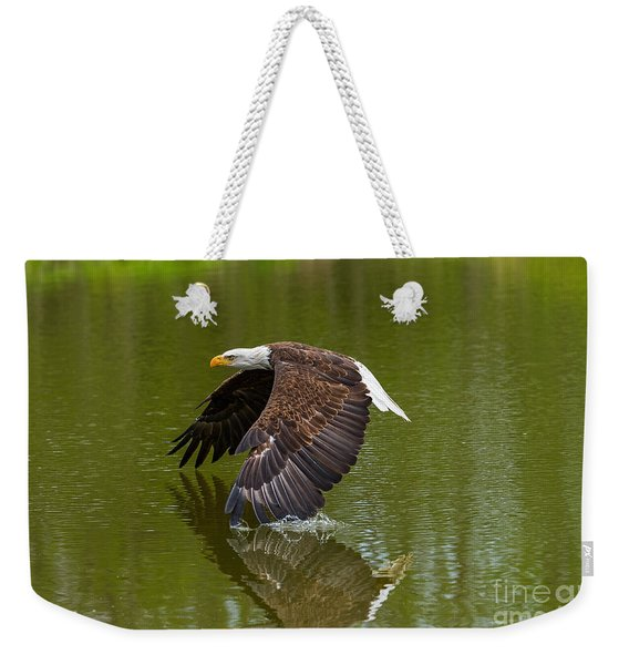 Bald Eagle In Low Flight Over A Lake Weekender Tote Bag