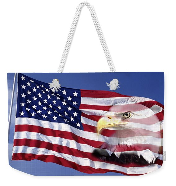 Bald Eagle On Flag Weekender Tote Bag