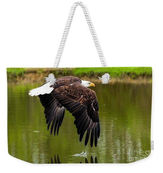 Bald Eagle Over A Pond Weekender Tote Bag