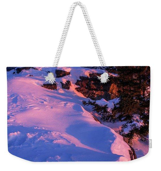 Bald Mountain Winter Sunset Weekender Tote Bag