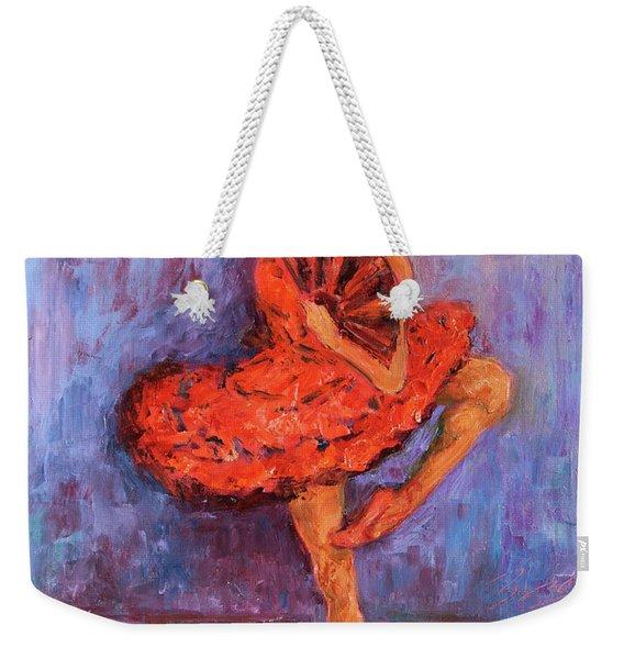 Ballerina Dancing With A Fan Weekender Tote Bag