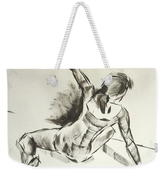 Ballet Dancer Sitting On Floor With Weight On Her Right Arm Weekender Tote Bag