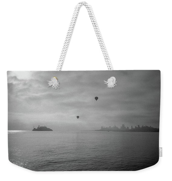 Weekender Tote Bag featuring the photograph Balloons Over San Francisco Bay by Frank DiMarco