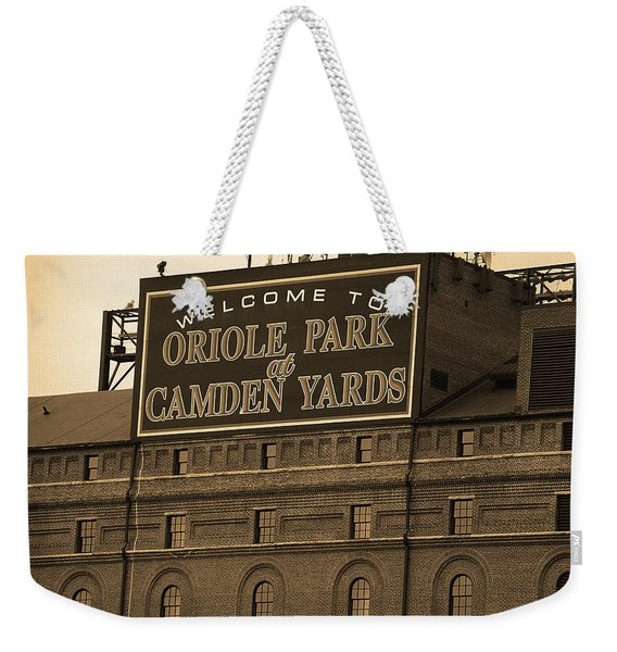 Baltimore Orioles Park At Camden Yards Sepia Weekender Tote Bag