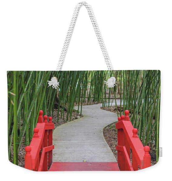 Bamboo Path Through A Red Bridge Weekender Tote Bag
