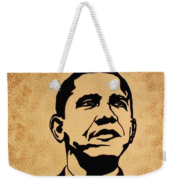 Barack Obama Original Coffee Painting Weekender Tote Bag