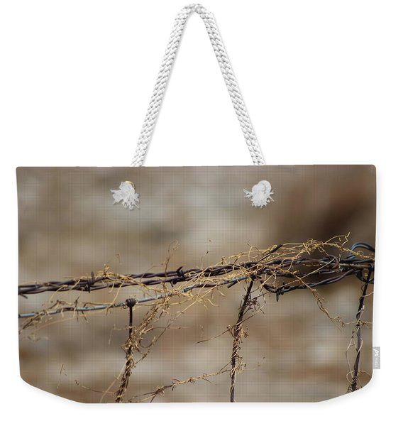 Barbed Wire Entwined With Dried Vine In Autumn Weekender Tote Bag