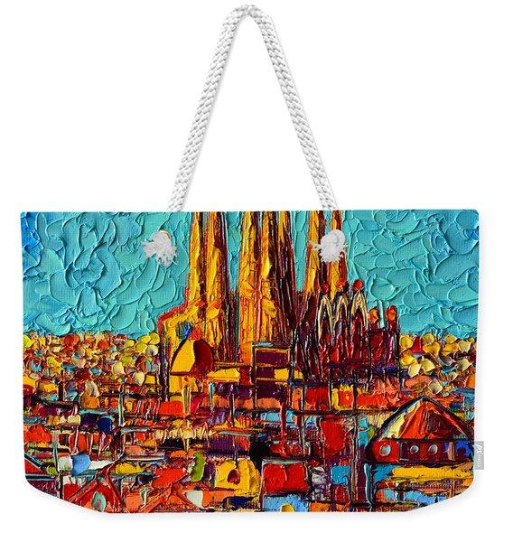 Barcelona Abstract Cityscape - Sagrada Familia Weekender Tote Bag