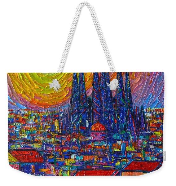 Barcelona Colorful Sunset Over Sagrada Familia Abstract City Knife Oil Painting Ana Maria Edulescu Weekender Tote Bag