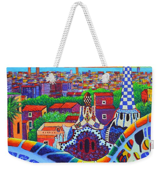 Barcelona Park Guell Sunrise Gaudi Tower Textural Impasto Knife Oil Painting By Ana Maria Edulescu Weekender Tote Bag