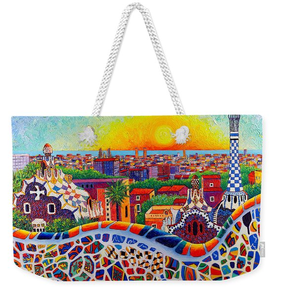 Barcelona Sunrise Colors From Park Guell Modern Impressionism Knife Oil Painting Ana Maria Edulescu Weekender Tote Bag