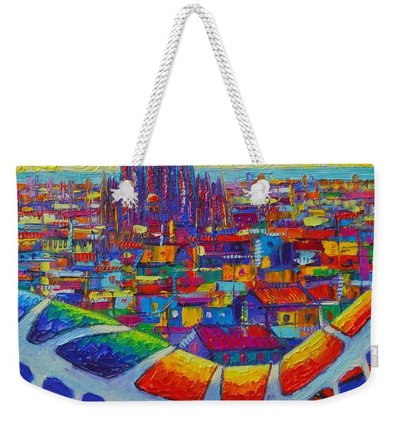 Barcelona View Sagrada From Park Guell Impressionist Abstract City Knife Painting Ana Maria Edulescu Weekender Tote Bag