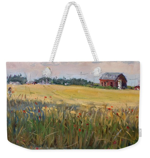 Barn In A Field Of Grain Weekender Tote Bag