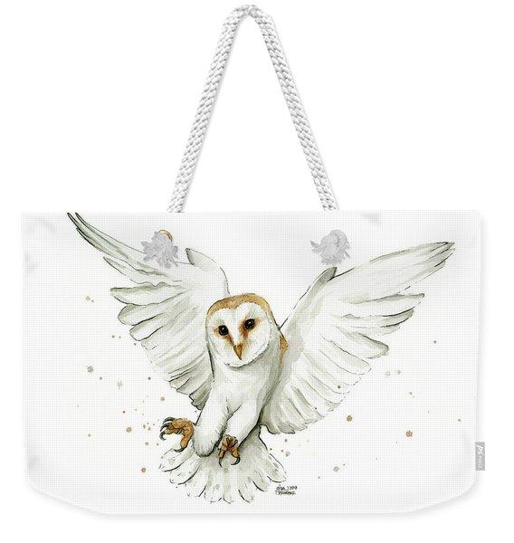 Barn Owl Flying Watercolor Weekender Tote Bag