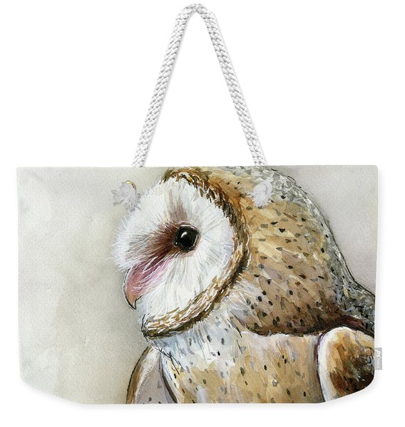 Barn Owl Watercolor Weekender Tote Bag