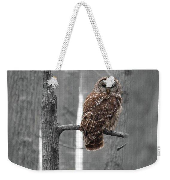 Barred Owl In Winter Woods #1 Weekender Tote Bag