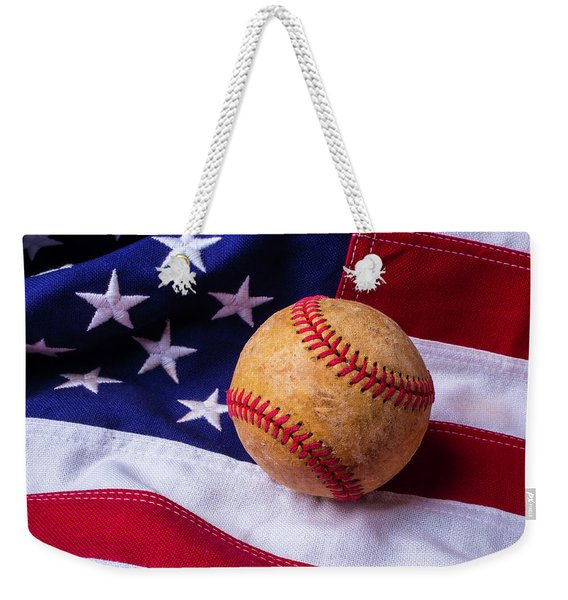 Baseball And American Flag Weekender Tote Bag