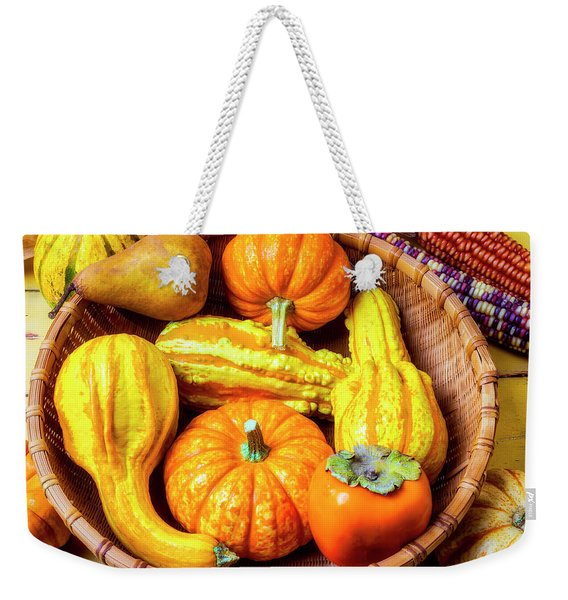 Basket Of Autumn Gourds And Fruits Weekender Tote Bag