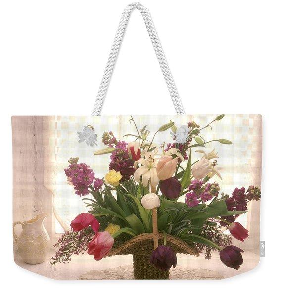 Basket Of Flowers In Window Weekender Tote Bag