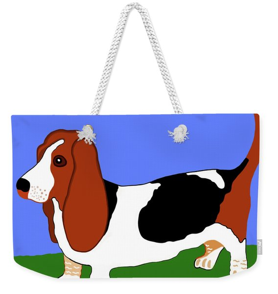 Weekender Tote Bag featuring the painting Cartoon Basset Hound In The Yard by Marian Cates