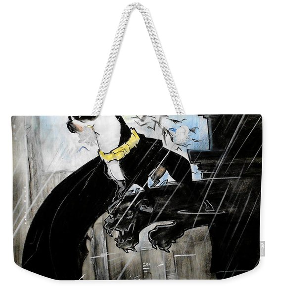 Batman Boston Terrier Caricature Art Print Weekender Tote Bag