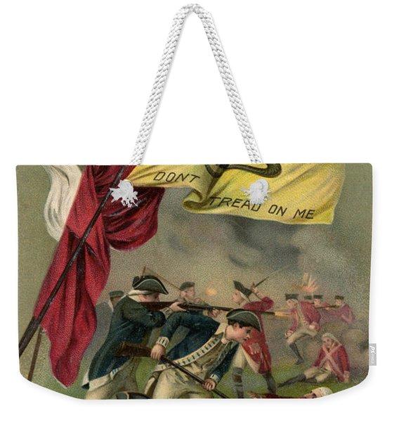 Battle Of Bunker Hill With Gadsden Flag Weekender Tote Bag