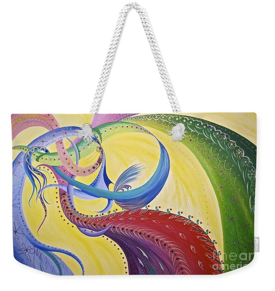 Weekender Tote Bag featuring the painting Baubles N Bows by Nancy Cupp
