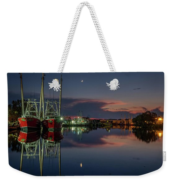 Bayou At Dusk With Crescent Moon Weekender Tote Bag
