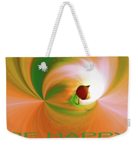 Be Happy, Green-orange With Physalis Weekender Tote Bag