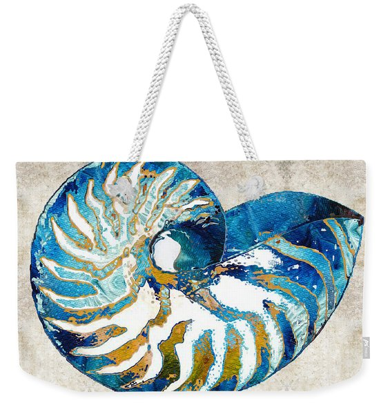 Beach Art - Nautilus Shell Bleu - Sharon Cummings Weekender Tote Bag