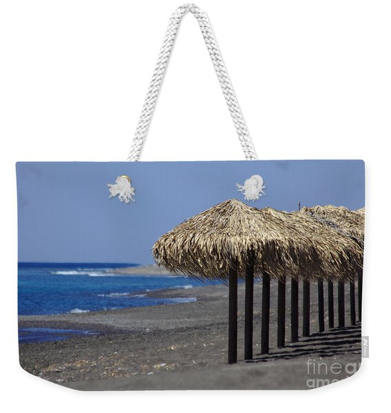 Weekender Tote Bag featuring the photograph Beach At Perivolos by Jeremy Hayden