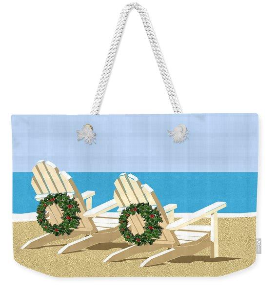 Beach Chairs With Wreaths Weekender Tote Bag