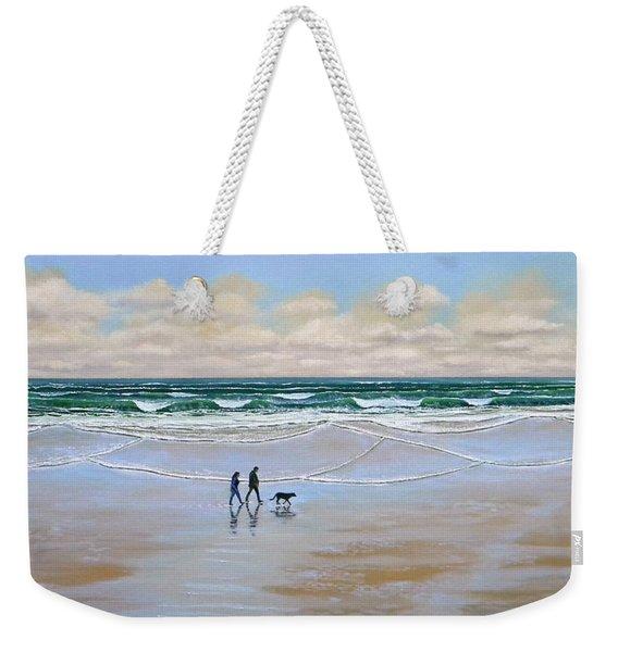 Beach Dog Walk Weekender Tote Bag