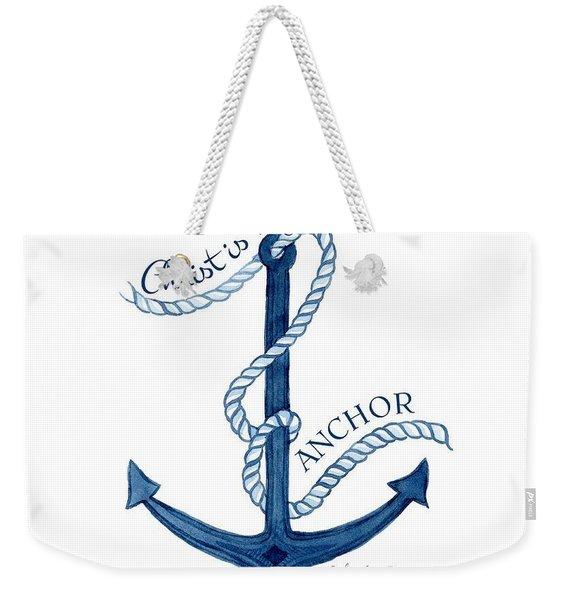 Beach House Nautical Ship Christ Is My Anchor Weekender Tote Bag