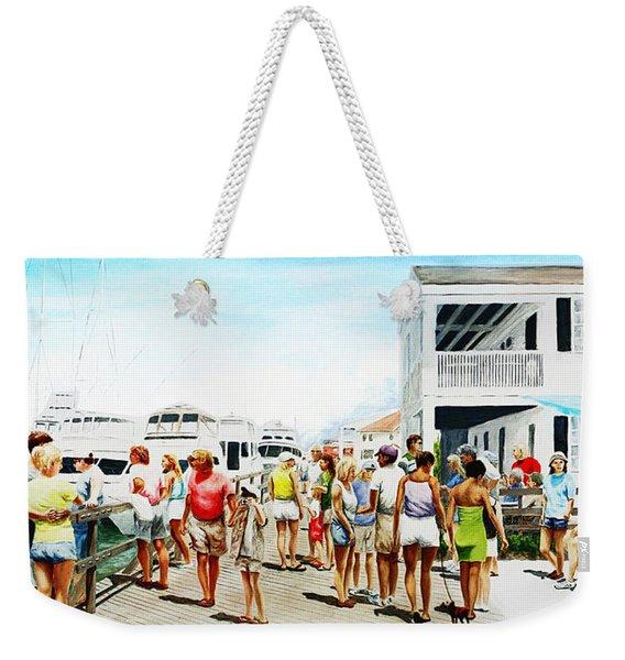 Beach/shore II Boardwalk Beaufort Dock - Original Fine Art Painting Weekender Tote Bag