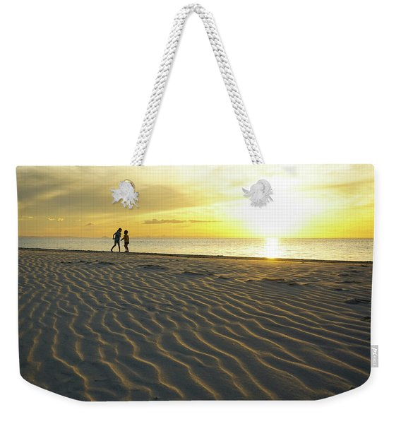 Beach Silhouettes And Sand Ripples At Sunset Weekender Tote Bag