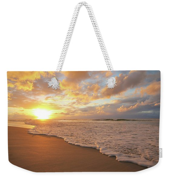 Beach Sunset With Golden Clouds Weekender Tote Bag
