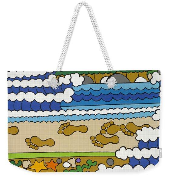 Beach Walk Foot Prints Weekender Tote Bag
