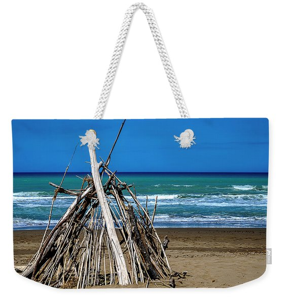 Beach With Wooden Tent - Spiaggia Con Tenda Di Legno Weekender Tote Bag