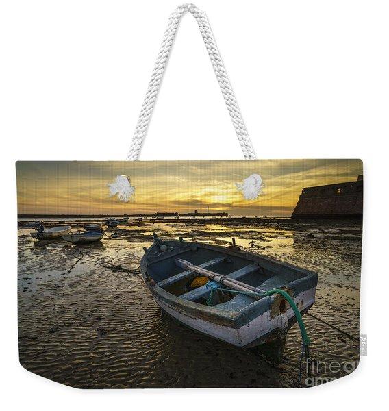 Beached Boat On La Caleta Cadiz Spain Weekender Tote Bag