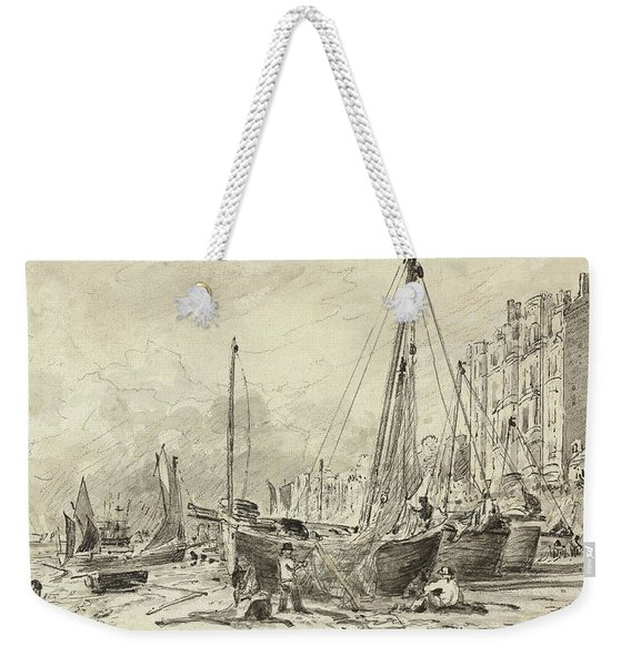 Beached Fishing Boats With Fishermen Mending Nets On The Beach At Brighton, Looking West Weekender Tote Bag