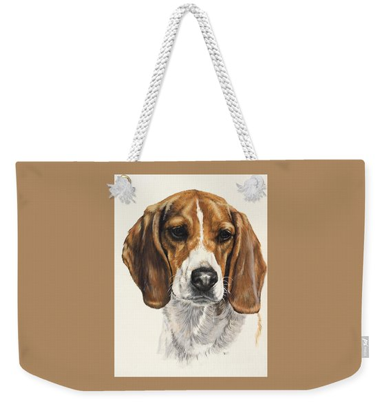 Weekender Tote Bag featuring the painting Beagle In Watercolor by Barbara Keith