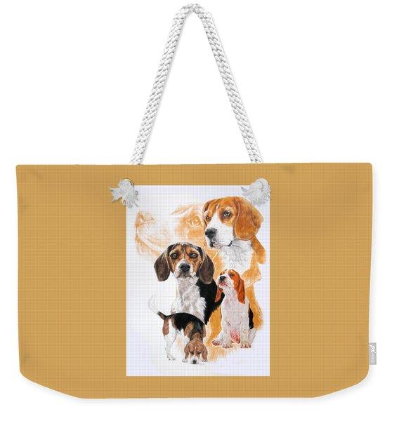 Weekender Tote Bag featuring the mixed media Beagle Hound Medley by Barbara Keith