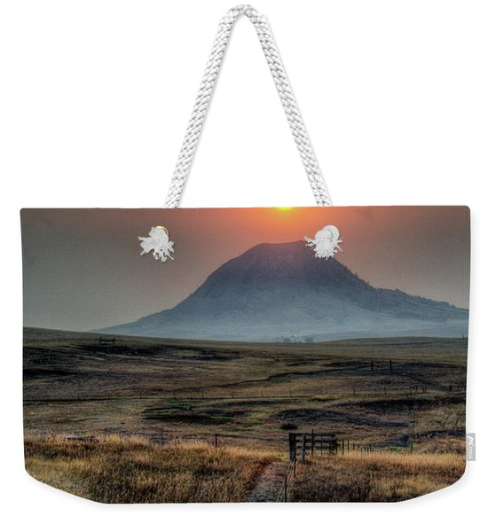 Bear Butte Smoke Weekender Tote Bag