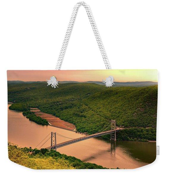 Weekender Tote Bag featuring the photograph Bear Mountain Bridge by Mihai Andritoiu